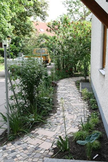 Geschwungener Weg aus buntem Pflaster. Zaun aus Metallpfosten mit Edelstahlseilen, die mit Kletterpflanzen berankt wurden. Schattenpflanzung. (Garching bei München)